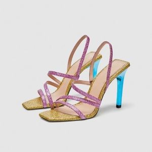 Zara Rainbow Glitter Sparkle Strappy Party Heels